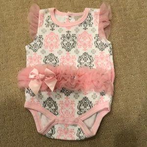 Kyle & deeha white, grey and pink ruffle onesie